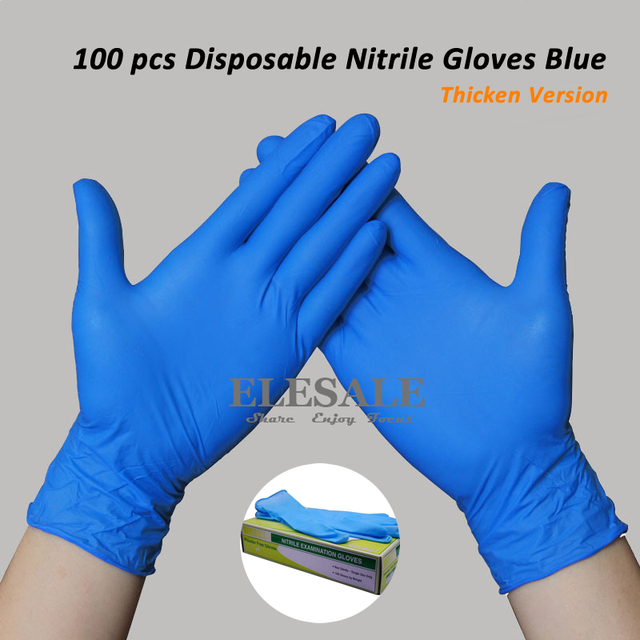New 100Pcs Blue Nitrile Disposable Gloves Powder free Ambidextrous Gloves For Medical Exam Experiment Reasearch Tattoo