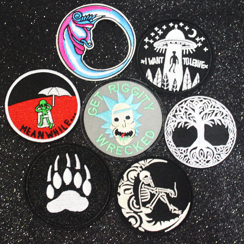 Punk Gesture Patch on Clothes Iron on Clothing Patches DIY Embroidered Patches for Clothes StickersSkull Patch Applique Stripe F in Patches from Home Garden