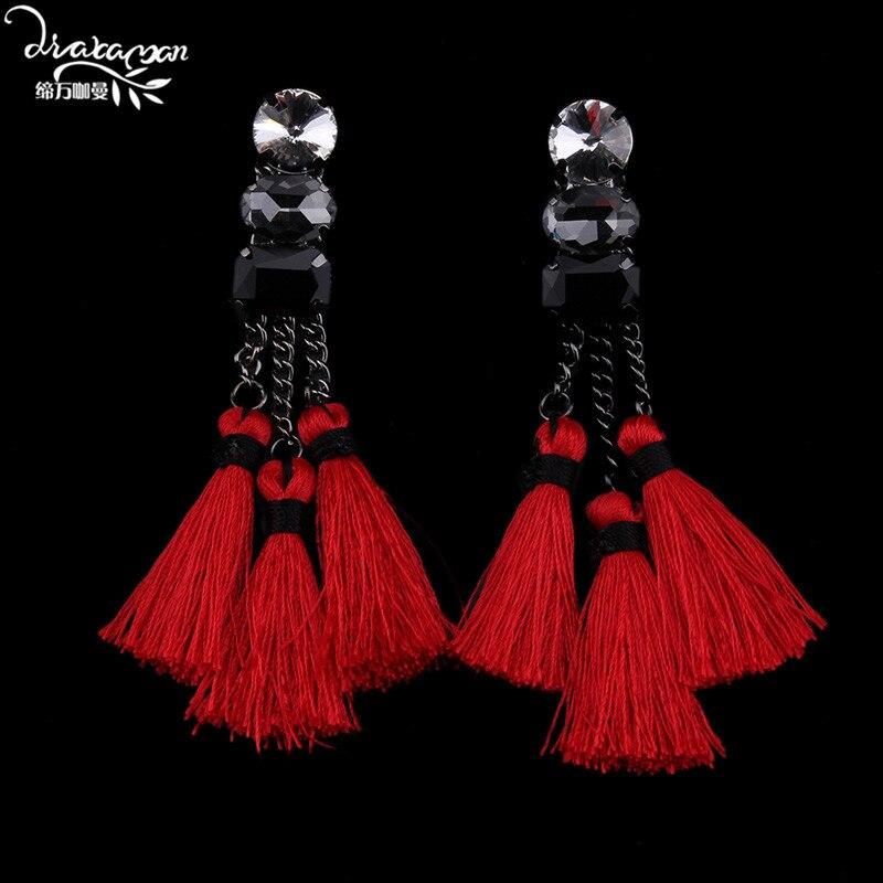 Dvacaman Brand 2016 New Long Red Rope Tassel font b Earrings b font Women Party Dress