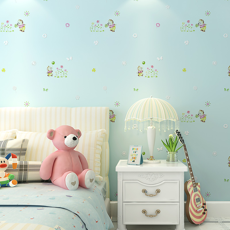 Cute Cartoon Bear Pink Wall Papers Home Decor for Girls Bedroom Beige Blue Children Boy Room Non Woven Wallpaper Roll for Walls