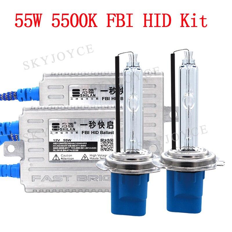 AC 12 v 55 watt HID Ballast Schnelle Helle 55 watt 5500 karat Xenon HID Birne Lampe H7 H1 H3 h11 9005 9006 Auto Scheinwerfer 55 watt H7 HID Conversion Kit