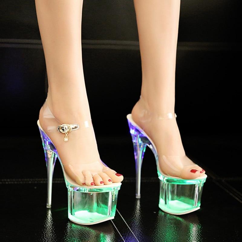 9484d091ef98 YD-EVER women light shoes thin heel pumps super high heel party crystal shoes  platform