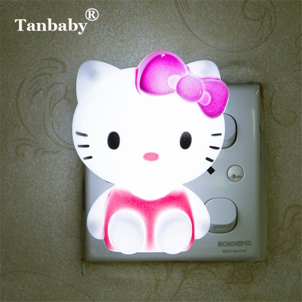 Tanbaby Hello Kitty LED Night Light AC220V Cartoon Night Lamp With US Plug Gifts For Kid/Baby/Children Bedroom Bedside Lamp creative cute green cartom car led night light for children baby kids white warm white bedside lamp resin night lamp gift