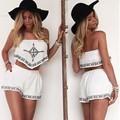 2017 Womens Jumpsuit Summer Backless Rompers Macacao Feminino Crop Tops Shorts Casual Beach Playsuits 2pcs Outfits white