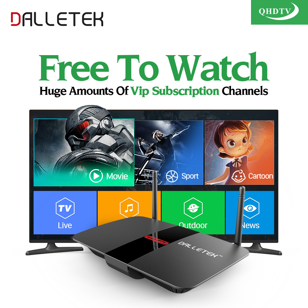 Dalletektv 1Year 1300 Free Iptv Channels Arabic Europe Italy French Turkey Android Smart TV Box H.265 Streaming Media Player