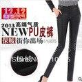 Outono inverno plus size fino cintura alta calças femininas das mulheres PU além de veludo espessamento calças de couro cheia E511 8238 #