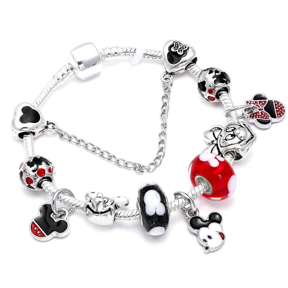 18 style Mickey Minnie Charm Bracelets For Women Cartoon Beads Fit Brand Bracelet & Bangles DIY Making Accessories Gifts пандора браслет с шармами