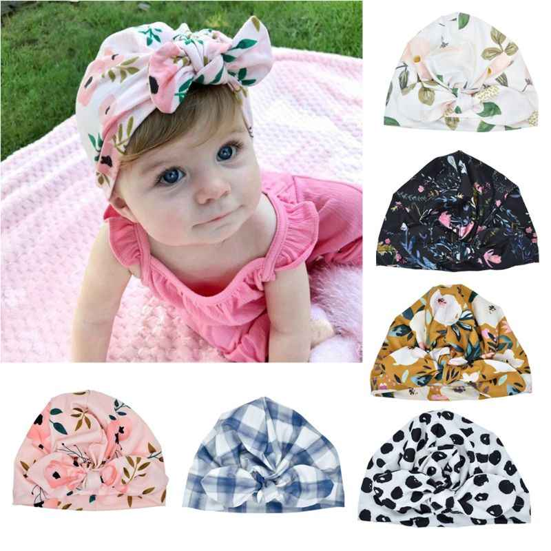 Fashion Baby Hat Solid Turban Kids Girls Sun Polyester Hat Elastic Caps 6  style Baby Cap Bow Tie Baby Infant Accessories