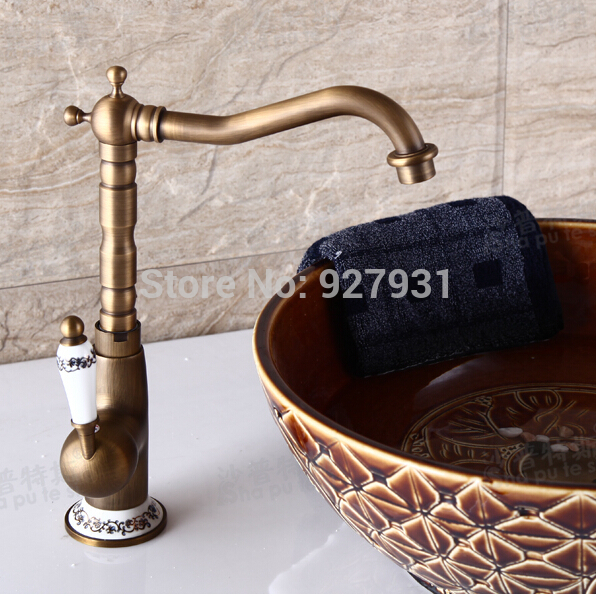 Luxury Deck Mounted Hot and Cold Water Countertop Bathroom Basin Sink Faucet Single Ceramic Handle Basin