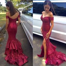 2016 Dark Red Sexy Lange Pailletten Formale Mermaid Off Schulter frauen Abendkleider Höhe Aufgeschlitzte Mädchen Party Kleider robe de soiree