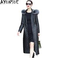 AYUNSUE 2018 зимняя куртка женская натуральная овчина пальто длинная теплая кожаная куртка с лисьим меховым воротником хлопковая стеганая верхн