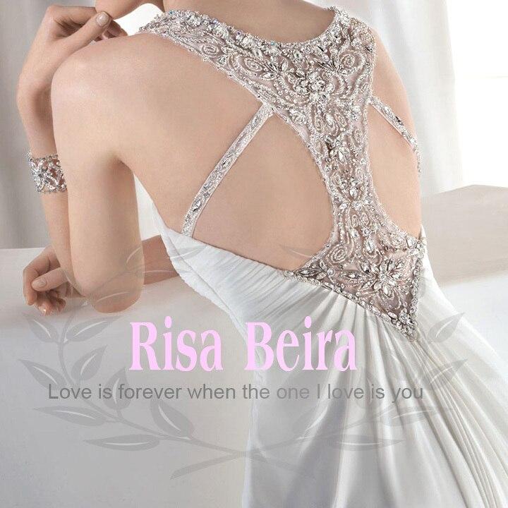 free Shipping 2016 New Fashion Luxury Plus Size Rhinestone Crystal Sexy Backless White Long Chiffon Wedding Dresses Bridal Gown