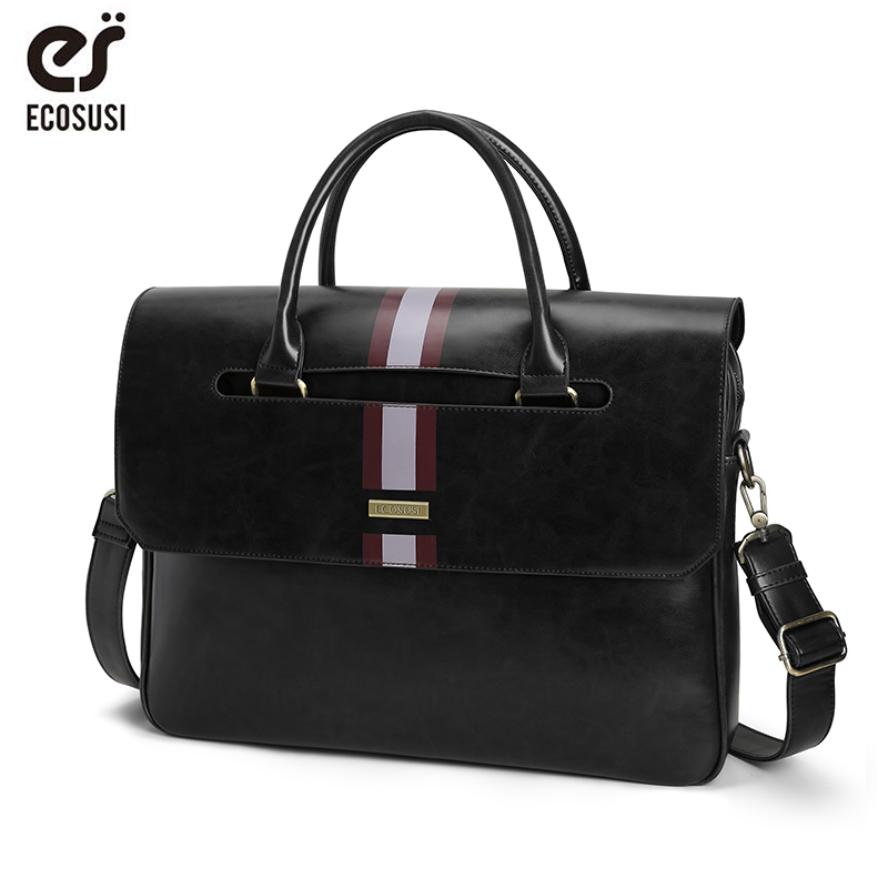 ECOSUSI 15.6 Inch Laptop Shoulder Bags Vintage Men's Briefcase PU Leather Business Messenger Bags Shoulder Satchel Computer Bags
