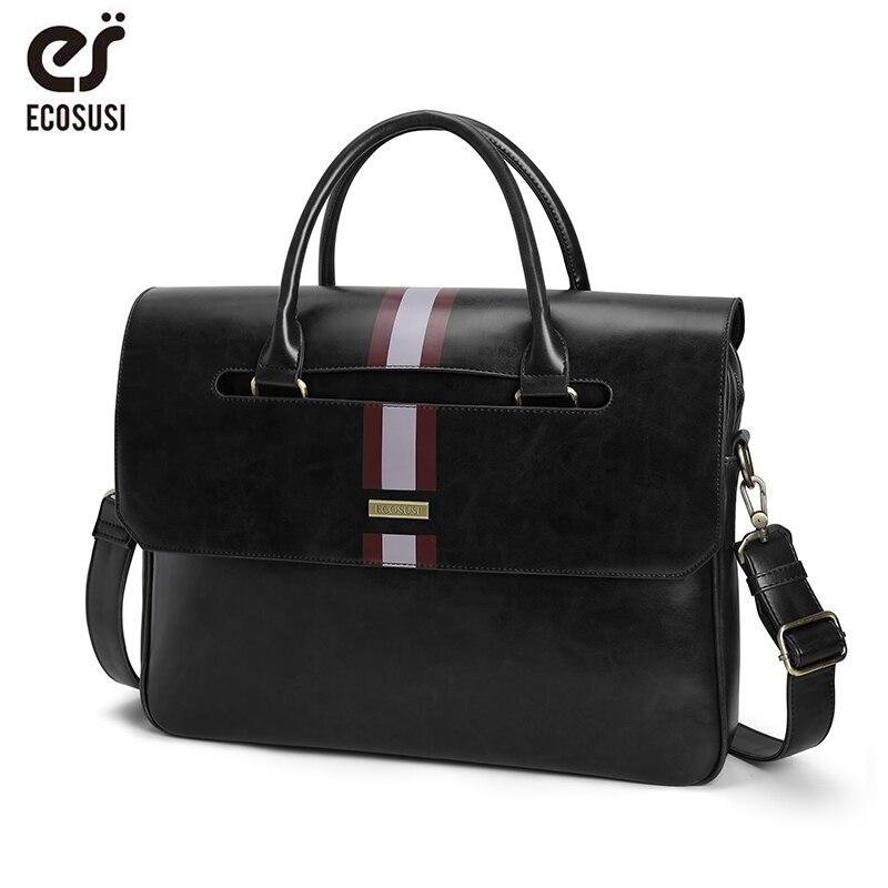 ECOSUSI 15.6 Inch Laptop Shoulder Bags Vintage Men's Briefcase PU Leather Business Messenger Bags Shoulder Satchel Computer Bags