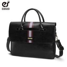 цена на ECOSUSI 15.6 Inch Laptop Shoulder Bags Vintage Men's Briefcase PU Leather Business Messenger Bags Shoulder Satchel Computer Bags