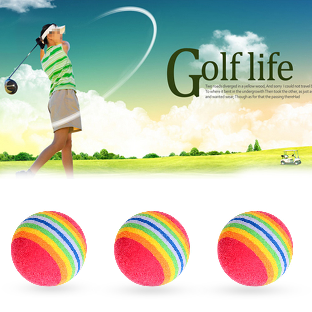 6pcs Rainbow Indoor Practice Golf Ball EVA Sponge Foam Balls Swing Training Aids Golfing Tranning Tools