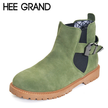 HEE GRAND Autumn Winter Women Boots 2016 New Slip On Ankle Boots Solid Platform Shoes Woman Comfortable Flats 4 Colors XWX3011