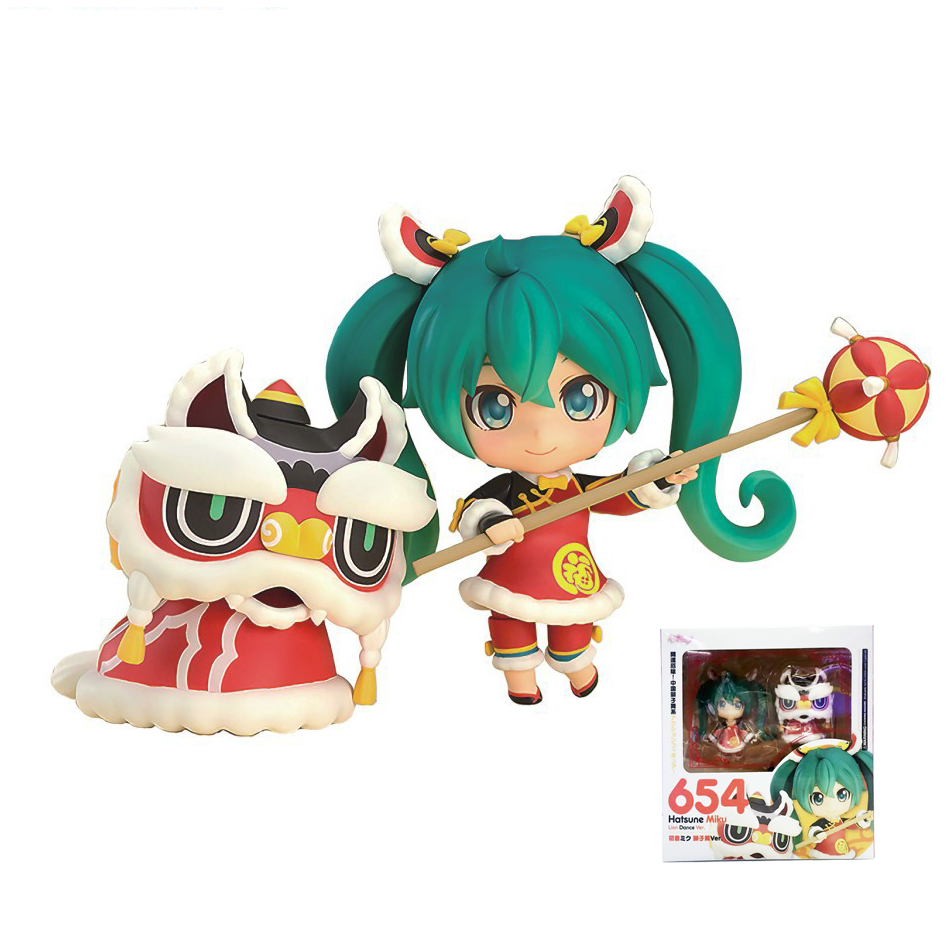 XINDUPLAN VOCALOID Nendoroid 654# Hatsune Miku Lion dance Chinese New Year PVC Action Figure Toys 10cm PVC Collection Model 0838 hatsune miku nendoroid black rock shooter klinge miku pvc action figure anim q version of the 3 educational toys