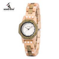 BOBOนกหรูหราสุภาพสตรีไม้นาฬิกาเพชรใบหน้าที่มีสีขาวรอบจุดไม้สร้อยข้อมือวงRelógio Feminino J-Q02