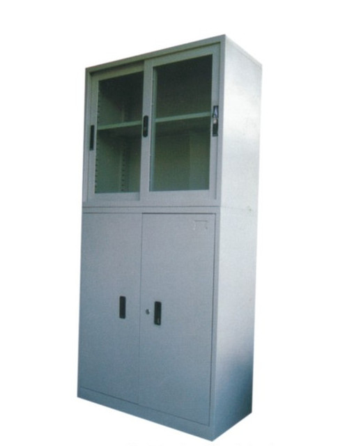 Section Two Glass Sliding Door Cabinet Cupboard File Instrument