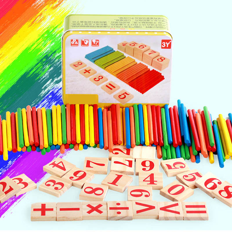 128Pcs Counting Bar Funny Kids Educational Game Wooden Math Number Counter Early Learning With Box Toy For Baby Children TK0201
