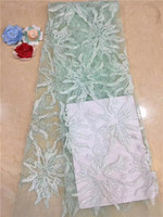 Turquoise African Lace Fabric, Newest lots of beads stones Flower Lace, French Tulle Lace Fabric For Wedding Dresses peach