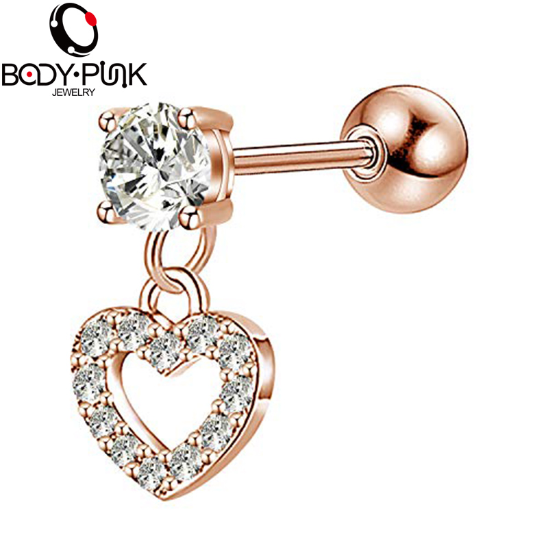 Body Punk Heart Dangle Helix Ear Cartilage Earring Piercings 16G Surgical Steel CZ Daith Tragus Studs Piercing Rose Gold Women