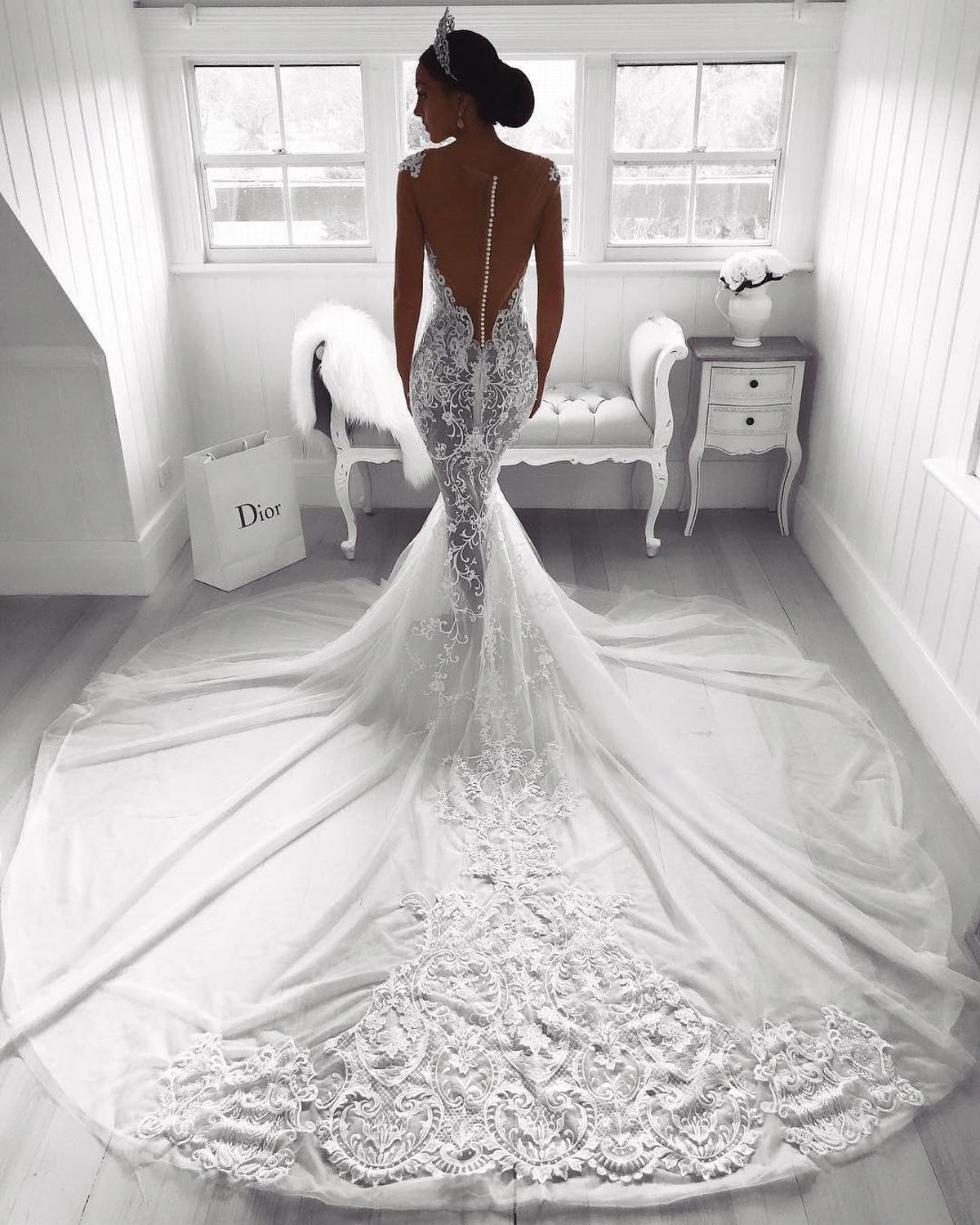 Robe De Mariage Sexy Illusion Back Mermaid Lace Wedding Dresses 2019 Appliques Sweetheart Long Train Bridal Wedding Gowns