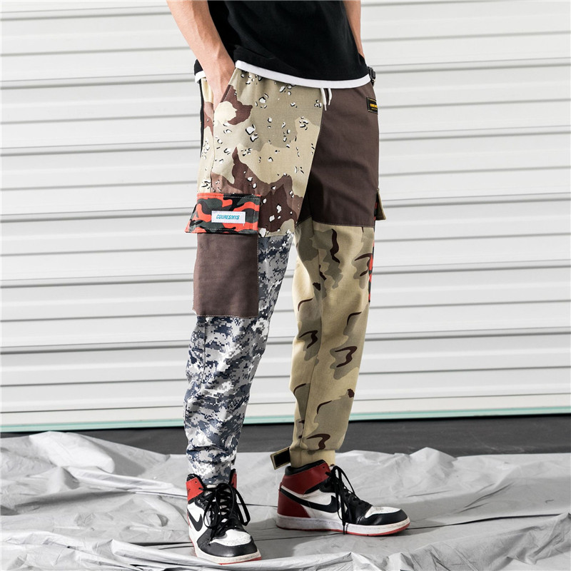 Casual Pants Sportwear Patchwork Mens Joggers Camouflage Summer Multi-Pocket