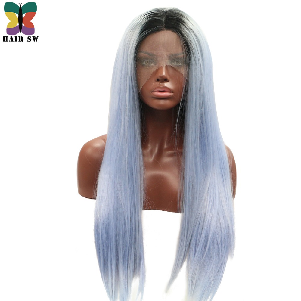 HAIR SW Straight Lace Front Free Part Wig Synthetic Ombre 13 Colors Choice Dark Root Handtied Wig For Women/Cosplay