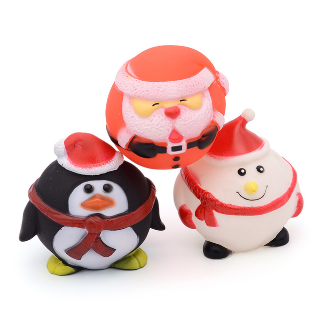 christmas dog toy chew squeaky funny pet toy 3 shape snowman santa claus penguin style dog