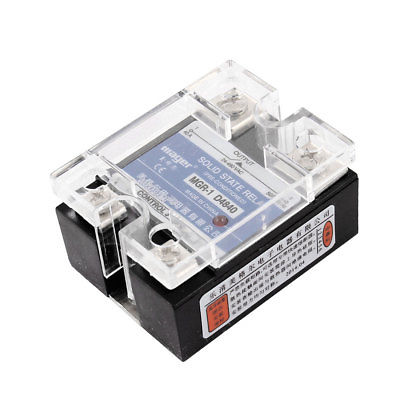 DC-AC 3-32V 24-480V 40A Single Phase NO SSR Solid State Relay w Clear Cover MGR-1 D4840 ssr 25a single phase solid state relay dc control ac mgr 1 d4825 load voltage 24 480v