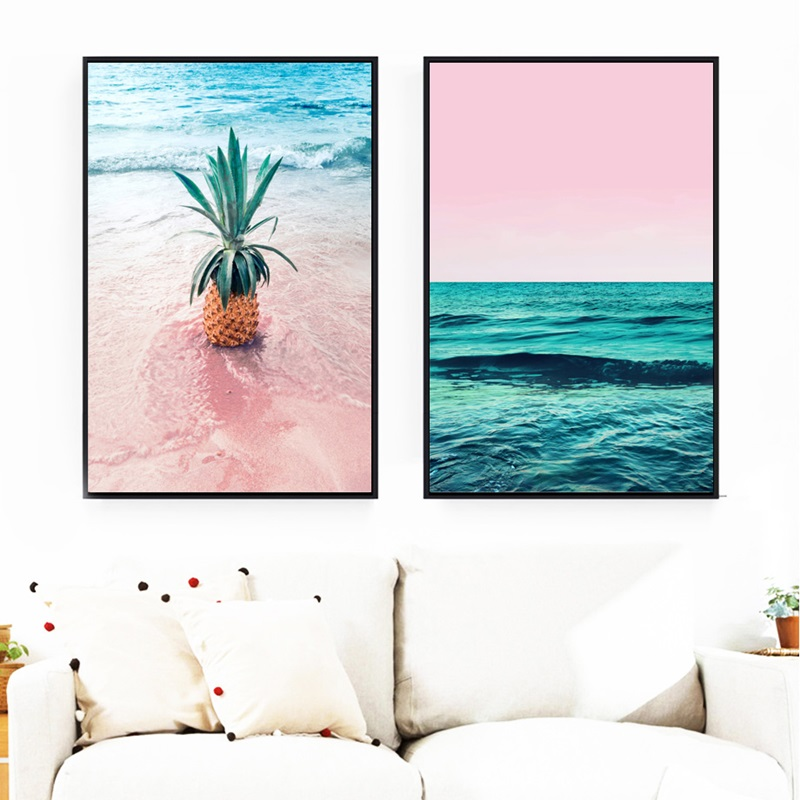 Nordic Posters and Prints Pineapple Sea Beach Wall Art Canvas Painting Landscape Pictures for Living Room Home Decoration