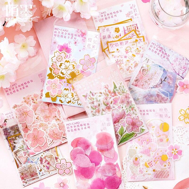 45-60 Pcs/lot Pink Cherry Blossoms Petal Paper Sticker Decoration Stickers DIY Planner Diary Scrapbooking Label Sticker