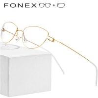 Titanium Alloy Prescription Glasses Frame Women 2019 Fashion Screwless Eyewear Myopia Optical Denmark Korean Cat Eye Eyeglasses