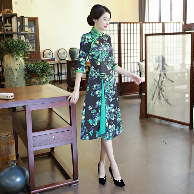 565718be463 Shanghai Story Spring Summer 3 4 Sleeve Vietnam Ao dai Cheongsam Dress For  Women Traditional Clothing Autumn aodai Style Dress