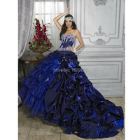 Royal Blue Ball Gown Quinceanera Dresses Sweetheart Silvery Beading Long Train Satin Quinceanera Dresses 2019