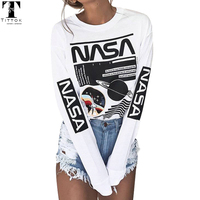 2017 New Arrivals Casual White Pattern Letter Print Long Sleeve T Shirt Tee Women Tops Autumn