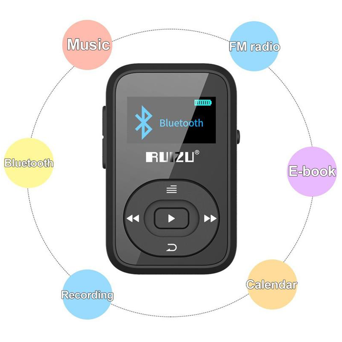 RUIZU X26 Bluetooth MP3 player 8GB Sport mp3 music player with recorder FM radio e-book support TF card free download image