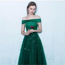 2017 Hand Made Blumen Deep Green Weg Von der Schulter A-Line Lange Prom Kleider Elegante Bodenlangen Abendkleid Vestido de Festa