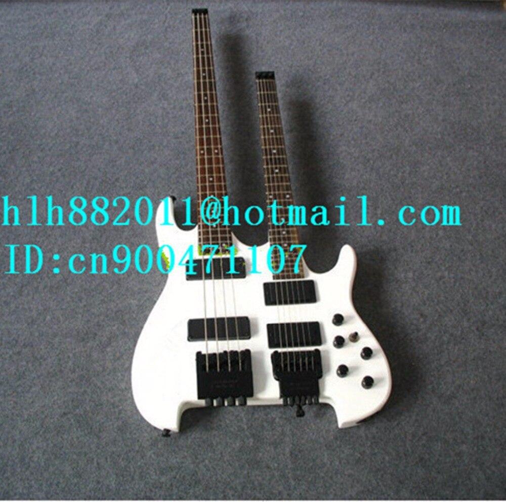 Livraison gratuite double cou healess basse électrique et guitare en blanc avec touche en palissandre + boîte en mousse