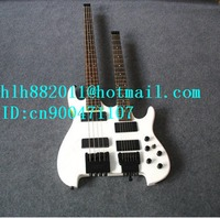 free shipping double neck healess electric bass and guitar in white with rosewood fingerboard +foam box