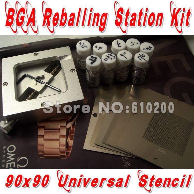 New BGA reballing Kit 19/pcs 90*90  BGA Universal Stencil +BGA Reballing Station+BGA solder balls pre heater preheating station bga reballing oven solder ball welding machine