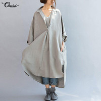 Vestidos Celmia Women Vintage Dress 2018 Autumn Long Sleeve V Neck Kaftan Dresses Solid Split Baggy