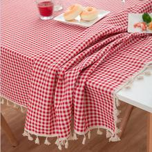 Red plaid table cover…