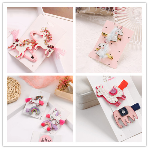 Boutique 15Sets Fashion Cute Glitter Unicorn Snap Clips Elephant Sheep Pom Pom Sequin Rainbow Hairpins Princess