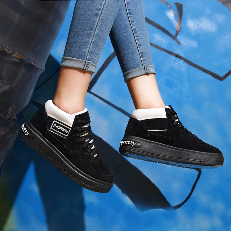 Casual Women Shoes Lace Up Breathable Platform High Top Casual Shoes KUYUPP 2016 Spring Autumn Fashion Lace Up Skate Shoes YD158 (44)