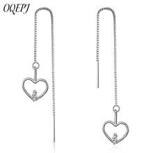 OQEPJ Trendy Tassel Heart Cat Earrings 925 Sterling Silver Jewelry Animal Long Chain High Quality For Women Minimalist