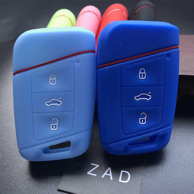 ZAD シリコーン車のキーカバー Vw フォルクスワーゲンパサート B8 B7 CC Skoda Superb A7 Magotan ティグアン MK2 2017 2018 2016 アクセサリー