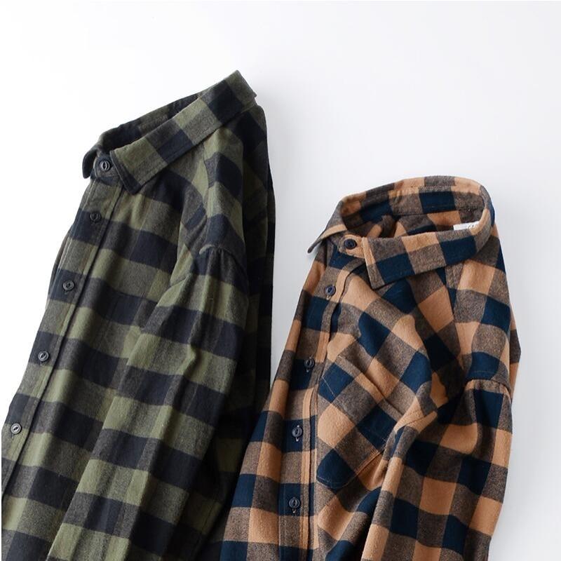 Hot 2018 Men Fashion Autumn Vintage Classic Flannel Plaid Loose Cotton Thick Long Sleeve Shirt Male Casual Plus Size Shirt 125KG